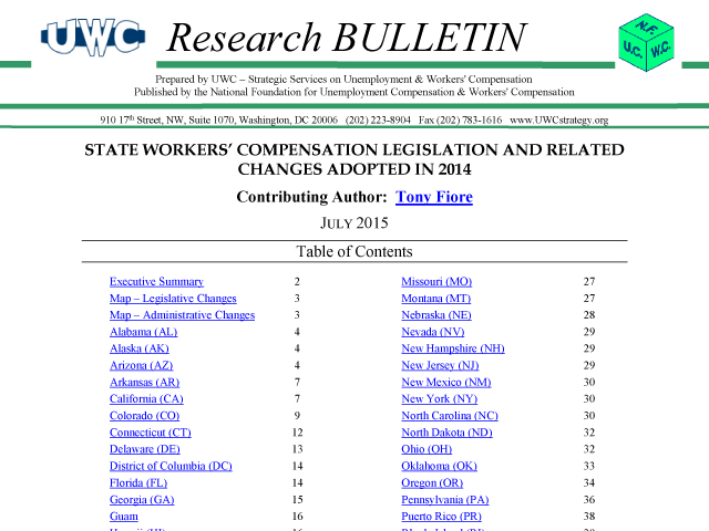 2015 Workers' Compensation Research Bulletin
